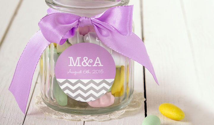 Wedding favor labels candy jar