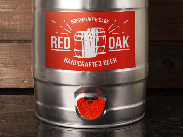 Custom label on a mini keg