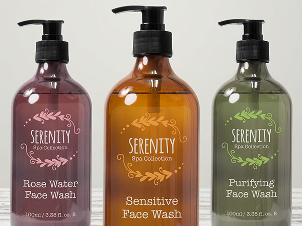 Custom clear product labels on soap bottles