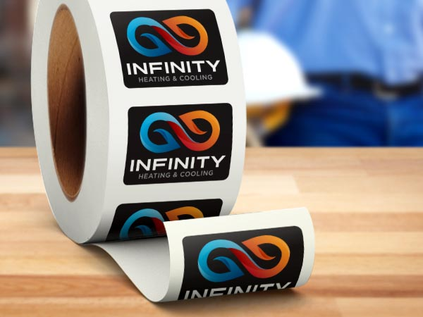 Roll of company logo stickers