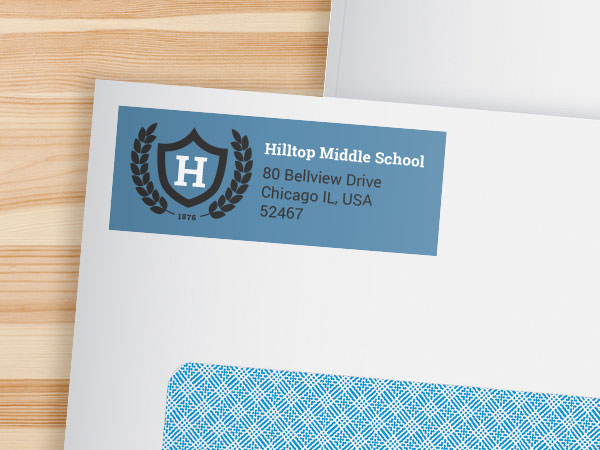 School address label on an envelope