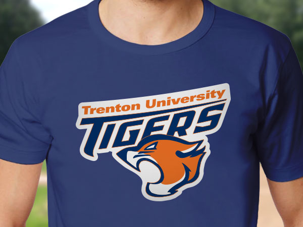 Iron-on transfer of a school team logo on a t-shirt