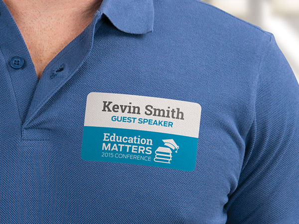 Name tag sticker on a shirt
