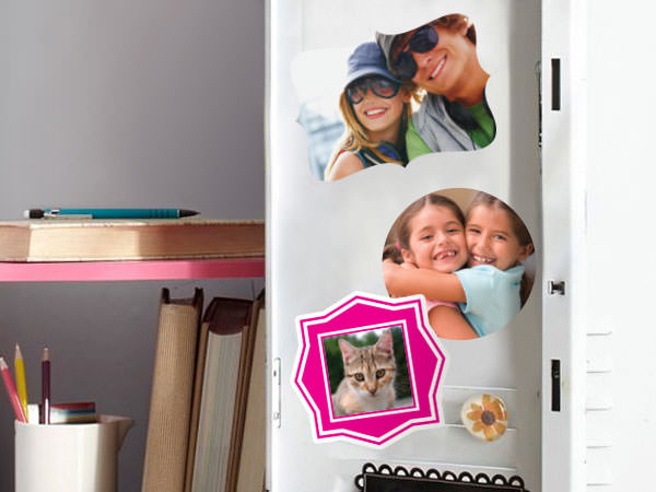 Custom personalized photo stickers in a students locker