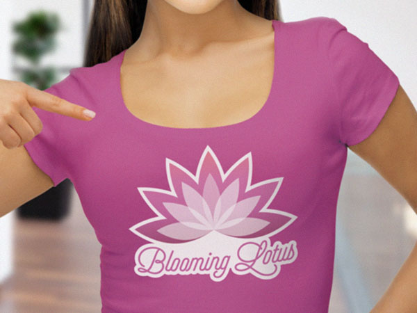 Custom spa logo iron-On transfer on a womans t-shirt