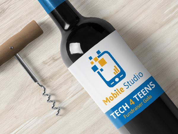 Tech event wine label on a wine bottle