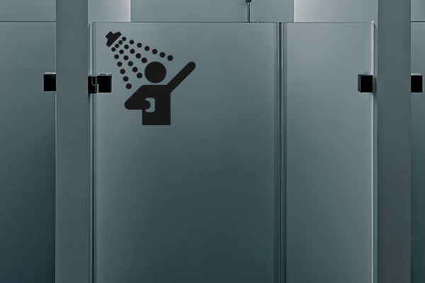 Vinyl graphic indicating shower area