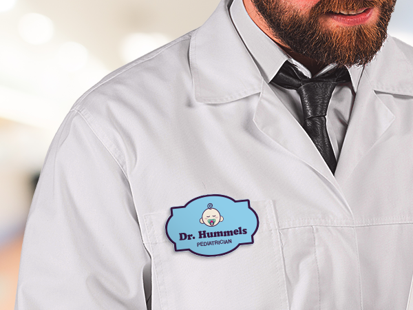 Name badge on white lab coat