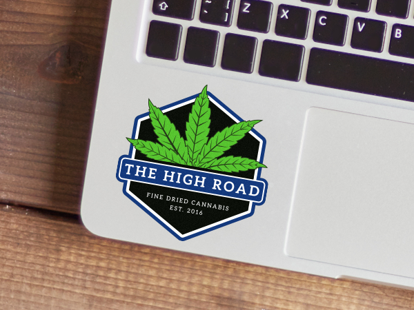 Custom dispensary logo sticker on a laptop