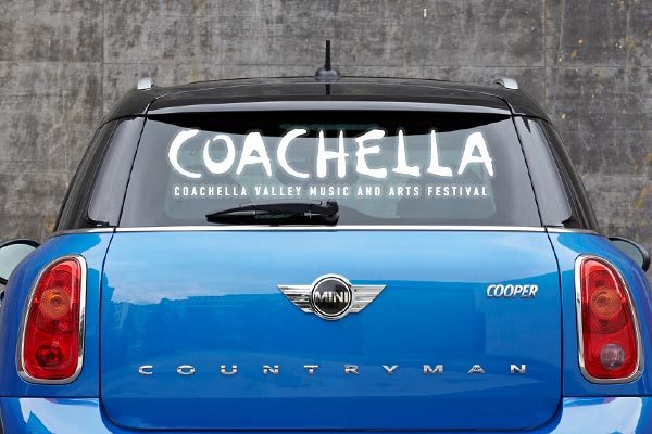 "Car with ""Coachella"" decal"
